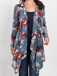 Casual Loose Floral Printed Knit Irregular Cardigan