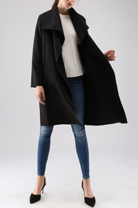 Casual Lapel Collar Plain Irregular Thin Long Windbreak Coat