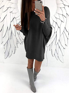Asymmetric Neck  Plain Batwing Sleeve Shift Dress