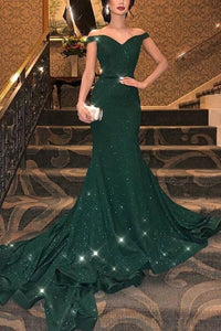 Off-The-Shoulder Sexy Sparkling Fishtail Evening Dress