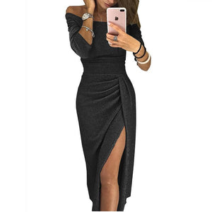 Fashion Women Off Shoulder Solid Color Dress Sexy Slim Bodycon Dress