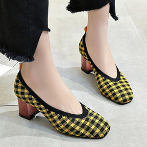 Chunky  Mid Heeled  Round Toe  Date Office Pumps