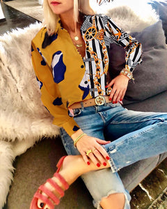 Casual Loose Long Sleeve Vintage Style Chain Printing Chiffon Shirt
