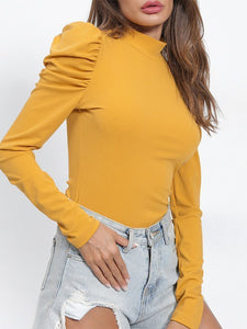 Casual Pure Colour Round Neck Slim T-Shirt