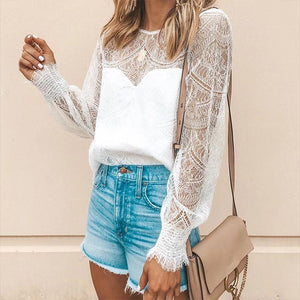Commuting Round Neck Lace See-Through Long Sleeve Pleated T-Shirt