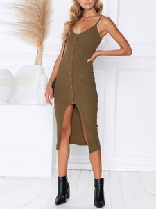 Stylish Sexy Single-Breasted Halter Dress
