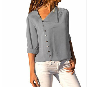 Chic Irregular Diagonal Collar Button Long Sleeve Shirt