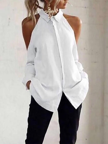 Casual Off-Shoulder Turndown Collar Splicing Pure Colour Blouse