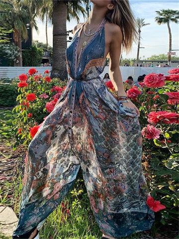 Bohemian Printed Deep V-Neck Sleeveless Loose Jumpsuits