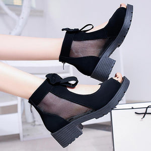 Fashion Casual Peep Toe Bow-Knot Hollow Up See Through Ankle Boots