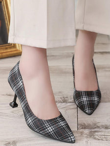 Fashion Casual Plaid Point Toe High Heel Stiletto Shoes