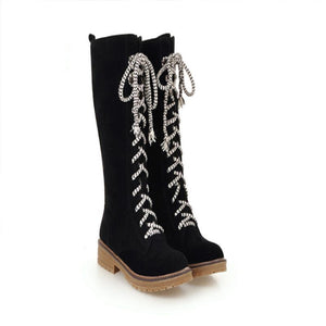 Casual Scrub Tube Bow Low Heel Snow Boots