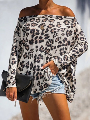 Casual Leopard Print Boat Neck Long Sleeve Loose Blouse