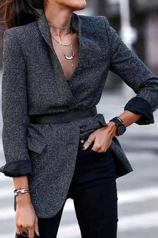 England Style A Lapel Long Sleeve Pure Colour Loose Blazer