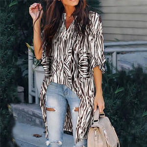 Casual Loose V-Neck Half Sleeve Printed Long Top