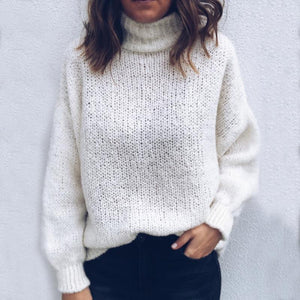 Casual High Collar Pure Colour Sweater