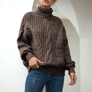 Cute High Collar Long Sleeve Pure Colour Sweater