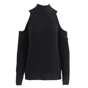 Casual Stand Collar Off-Shoulder Pure Colour Sweater