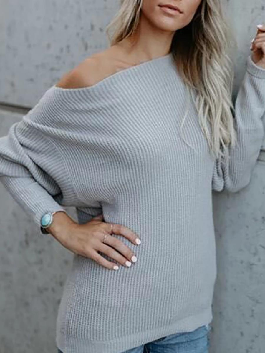 Casual Solid Color One Word Collar Loose Long Sleeve Sweater