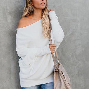 Casual Sloping Shoulder Long Sleeve Pure Colour Sweater