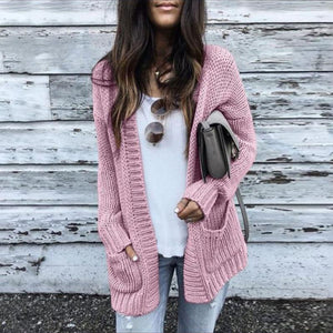 Casual Pure Colour Long Sleeve Cardigan