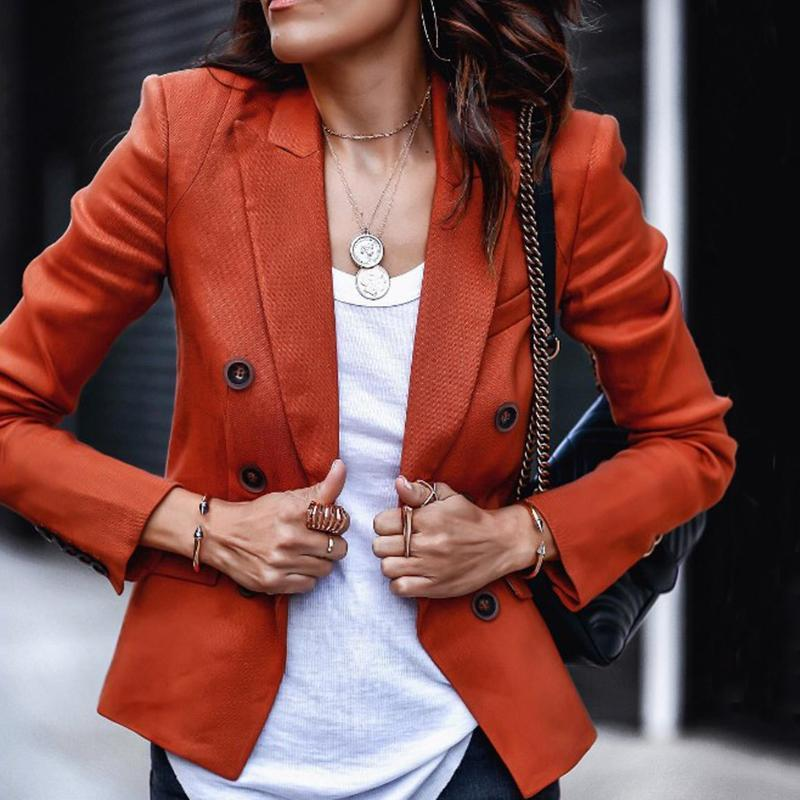 Classic Red Flap Pockets Long Sleeves Suit Collar Blazer