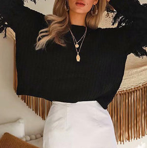 Cute Long Sleeve Pure Color Round Neck Sweater
