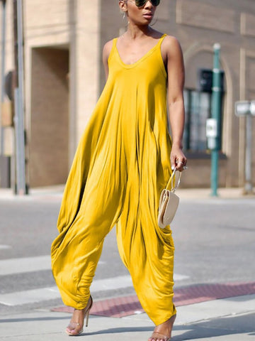 Cutout  Plain Jumpsuits