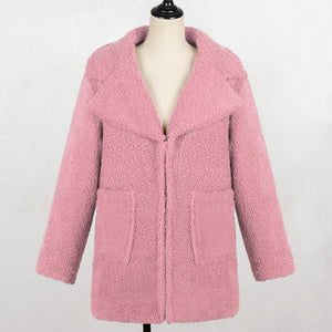 Brief Women's Solid Color Pocket Overcoat