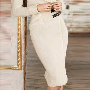 Autumn And Winter Knitted Elastic Dress Bag Hip Skirt Bodycon Dress