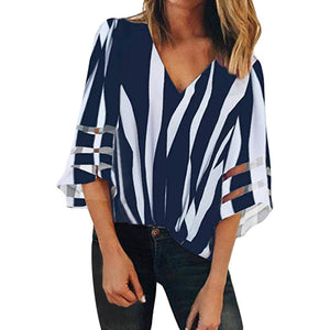 Casual V Neck Striped Splicing Lace Blouse