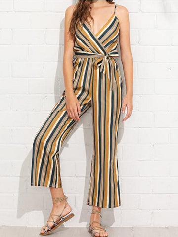 Casual Colorful Striped Braces Jumpsuits