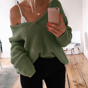 Casual Solid Color V-neck Long Sleeve Knit Sweater