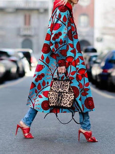 Blue Plant Printed Coat