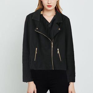 Brief Long Sleeve Zipper Fold Over Collar Jacket