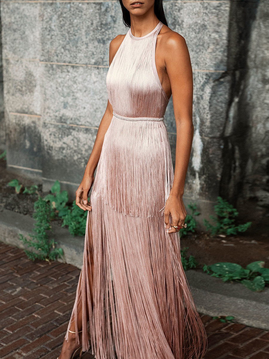 Fashion Elegance Backless Sleveless Tassel Evening Dress