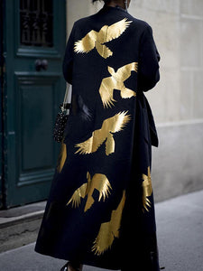 Fashion Bird Print Solid Color Ladies Long Coat