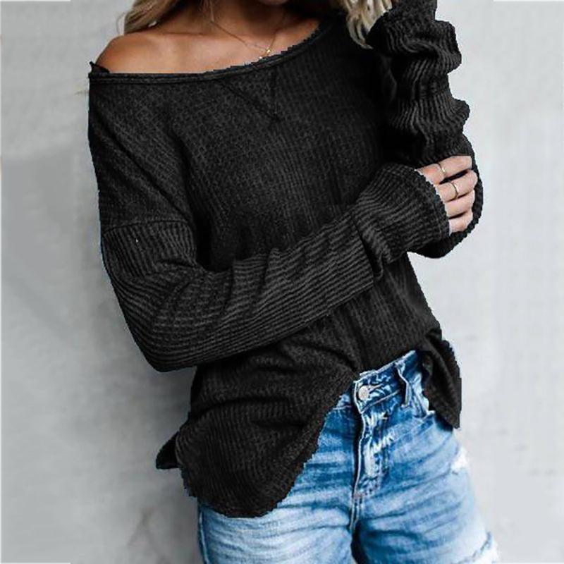Casual Diagonal Collar Long Sleeve Twisted T-shirt