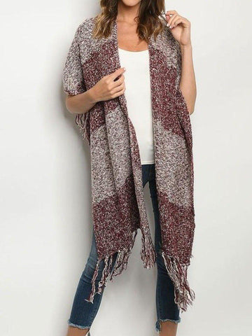 Rustic Autumn Wrap in Burgundy