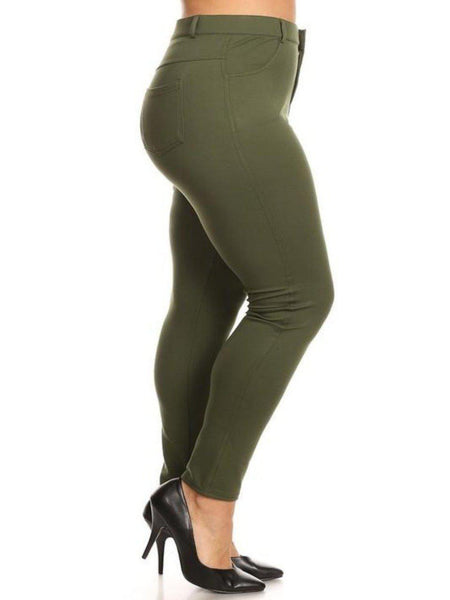 Olive Stretchy Plus Pants- CLEARANCE