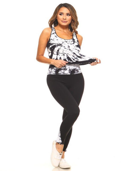 Tie Dye Yoga Leggings & Top Set Plus in White