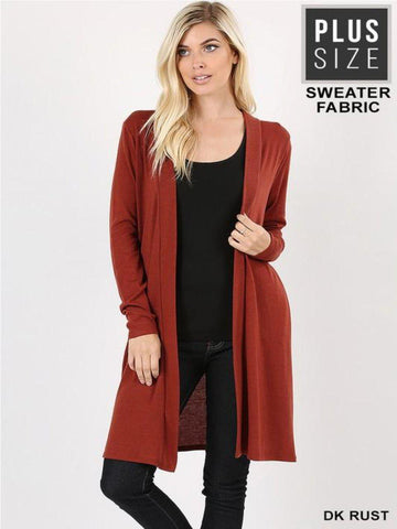 Long Brick Cardigan Plus
