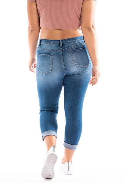Kancan Lightly Distressed Cropped Jeans Plus