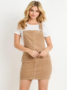 Liz Overall Mini Skirt in Sand