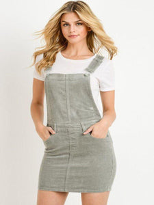 Liz Overall Mini Skirt in French Grey