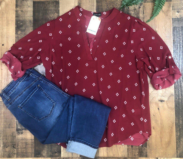 Carolina Blouse Plus Burgundy