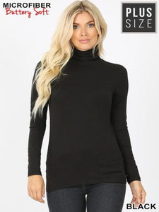 Mock Turtleneck in Black Plus