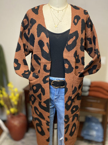 Leopard Cardigan In Burnt Orange