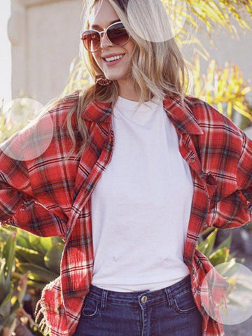 Red Barn Flannel Top