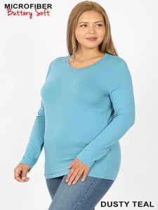 Basic Long Sleeve T-shirt in Teal Plus